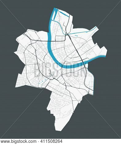 Basel Map. Detailed Map Of Basel City Administrative Area. Cityscape Panorama. Royalty Free Vector I