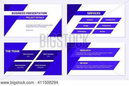 Business Presentation Design Template. Project Details, Services, Team, Research And Review. Simple