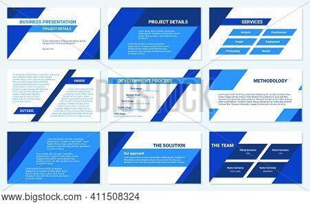 Business Presentation Design Template. Simple Flat Oblique Lines, Triangles, Blue Color, 9 Slides. M