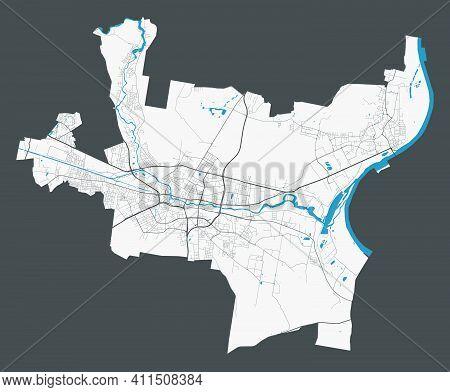 Bydgoszcz Map. Detailed Map Of Bydgoszcz City Administrative Area. Cityscape Panorama. Royalty Free