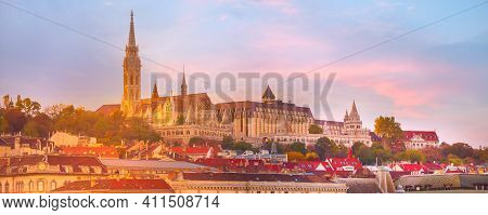 Panorama Banner Of Buda Part Of Budapest, Hungary With St. Matthias Church And Fisherman Bastion Aga