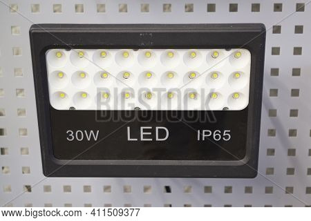 Front View Of Led Flood Ligh, Led Lamp Projector Close Up