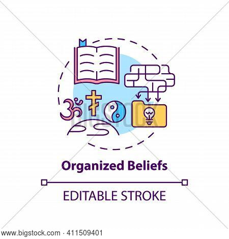 Organized Beliefs Concept Icon. Institutional Religion. Spirituality And Faith. Religious Value Idea