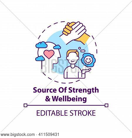 Source Of Strength And Wellbeing Concept Icon. Mental Health Care, Psychotherapy. Religious Value Id