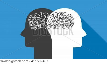 Two Heads Of People With Confused Thoughts In Their Heads Mentally Carry Nonsense. Misunderstanding,