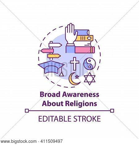 Broad Awareness About Religion Concept Icon. Culture Diversity. Understanding Spirituality. Religiou