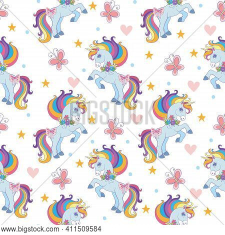 Seamless Pattern With Unicorns, Hearts And Butterflies Isolated On White Background. Vector Illustra