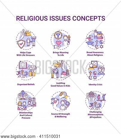 Religious Issues And Values Concept Icons Set. Help Cope With Life Stress. Identity Crisis. Religion