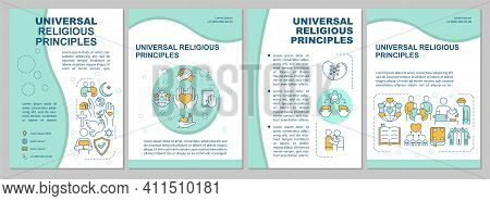Universal Religious Principles Brochure Template. Unity And Peace. Flyer, Booklet, Leaflet Print, Co