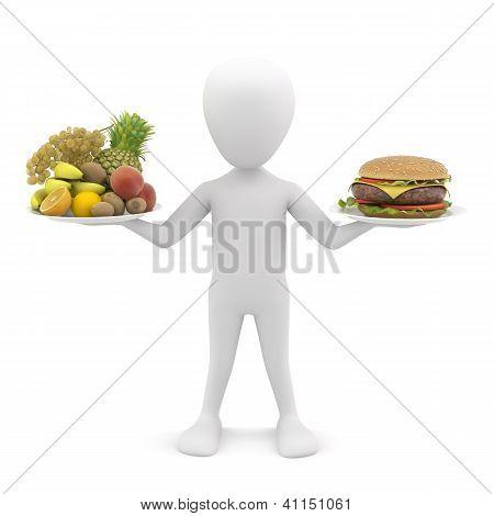 3D Man Holding Fruit And Hamburger. 3D Image.