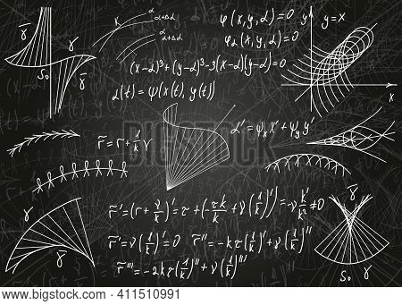 Mathematical Formulas Drawn By Hand On A Black Unclean Chalkboard For The Background. Vector Illustr