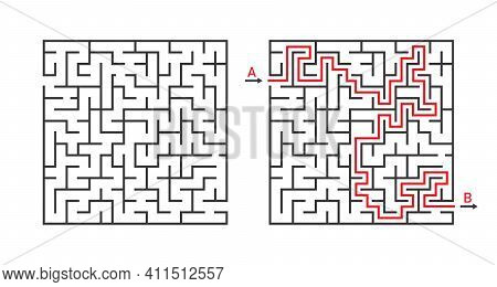 Maze Game. Labyrinth Square. Solving Of Puzzle. Line Rebus For Kids With Entry And Exit. Simple Maze