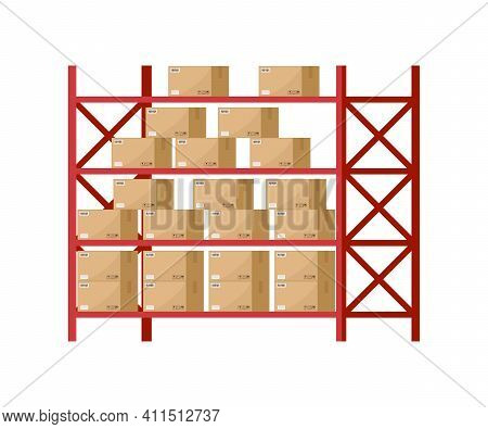 Warehouse Inventory With Rack And Boxes. Shelf For Storage Of Cargo. Stock Of Wholesale Goods In War