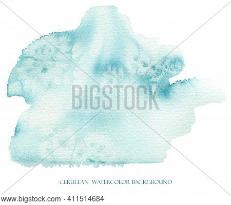 Blue Watercolor Splash Abstract Cerulean Watercolour Background