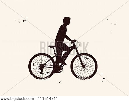 Man On Bicycle. Cyclist On Bike Abstract Silhouette. Night Starry Sky