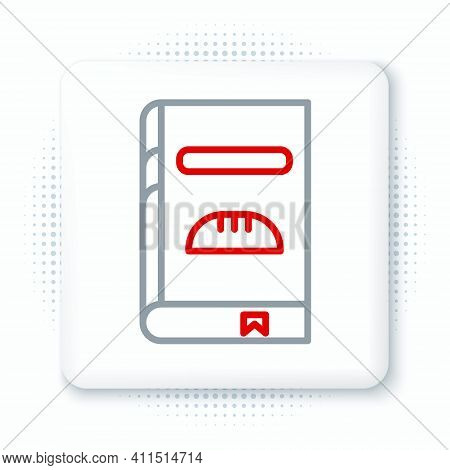 Line Cookbook Icon Isolated On White Background. Cooking Book Icon. Recipe Book. Fork And Knife Icon