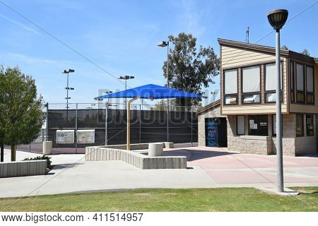 IRVINE, CA - MARCH 24, 2017: Heritage Park Tennis Center. The center has 12 lighted tennis courts, adjacent to handball and basketball courts.