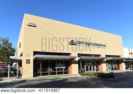 IRVINE, CALIFORNIA - 25 APRIL 2020: Left Coast Brewing Company tasting room, distillery, smokehouse in Orange County.