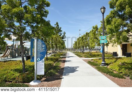 IRVINE, CA - MARCH 24, 2017: Cypress Community Park. The 17.9 acre park is part of a master-planned balance of urban living and preserved natural space at the center of Orange County.