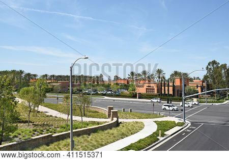 IRVINE, CA - MARCH 24, 2017: Cypress Village Shopping Center. Seen from the Jeffrey Open Space Trail bridge at the intersection of Jeffrey Road and Trabuco Road.