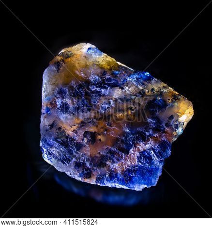 Shiny Luminous Blue Sylvinite Rock Salt Mineral Crystal From Soligorsk, Belarus. A Photo Isolated On