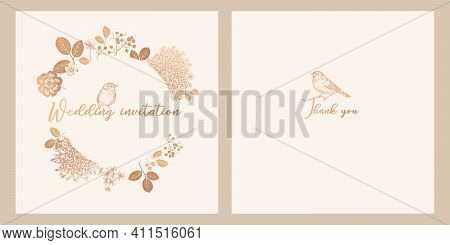 Cute Birds, Branches With Leaves And Flowers. Templates Of Wedding Invitations Set. Floral Vector Il