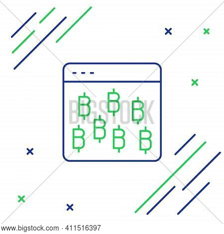 Line Cryptocurrency Coin Bitcoin Icon Isolated On White Background. Physical Bit Coin. Blockchain Ba