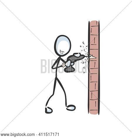 Drilling Neighbour. Annoying Loud Noise. Vector Simple Wall Drill. Stickman No Face Clipart Cartoon.