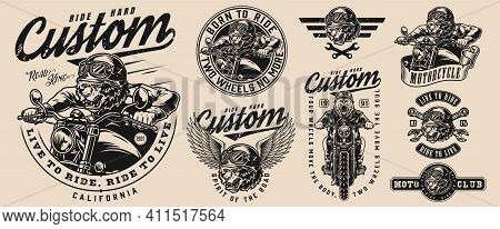 Motorcycle Vintage Monochrome Emblems With Angry Grizzly Motorcyclists Crossed Wrenches Ferocious Be