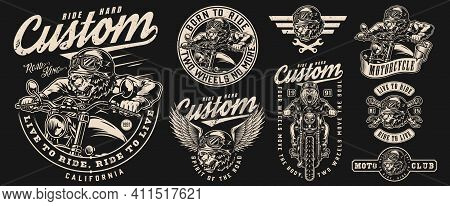 Angry Bear Bikers Vintage Labels Set With Inscriptions Ferocious Grizzly Motorcyclists And Crossed W