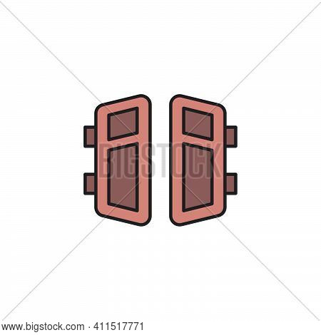 Open Double Door Outline Icon Linear Style Sign For Mobile Concept And Web Design Exit Doorway