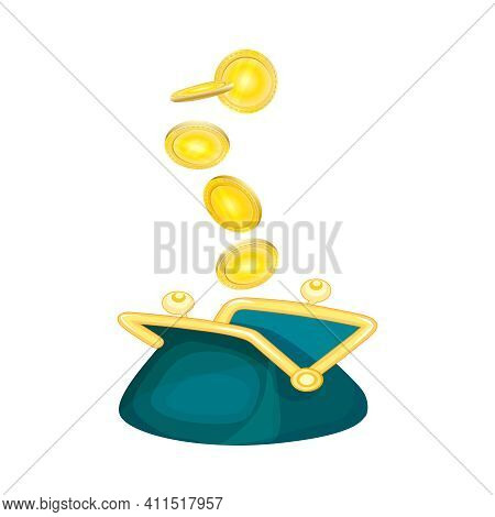 Opened Purse With Gold Coins Raining To Open Wallet Isolated On White Background. Falling Gold Coins
