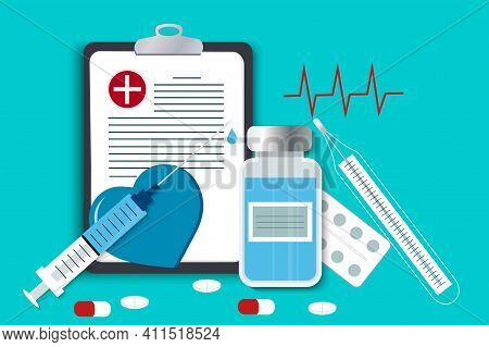 First Aid Vector Image. A Set With Medicines And Means For The Provision Of Medical Care. Health Dia