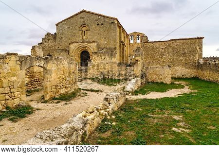 Christian Hermitage Ruins. Medieval Stone Architecture. Hermitage San Frutos Hoces Duraton River