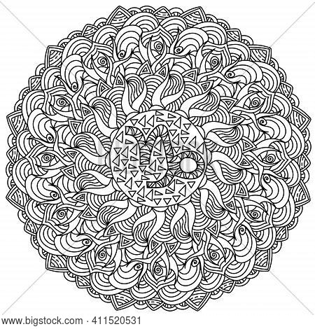 Zodiac Sign Capricorn Mandala, Ornate Coloring Page With Tangled Elements Vector Illustration