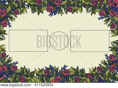 Composition of flower and foliage frame with rectangular and circular copy outlines on off-white. floral frame presentation design concept with copy space, digitally generated image.
