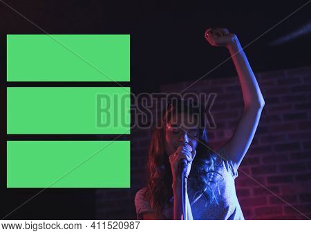 Composition of female singer performing at microphone with three green rectangles on left side. music performance presentation design concept with copy space, digitally generated image.