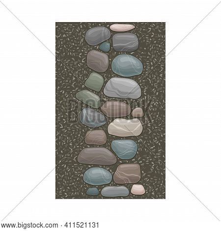 Walkway Of Smooth Cobblestones Rested On Gravel As Landscape Design Vector Illustration
