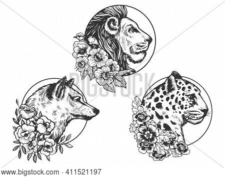Lion Wolf Leopard Heads Animal Set Tattoo With Flowers Sketch Engraving Vector Illustration. T-shirt