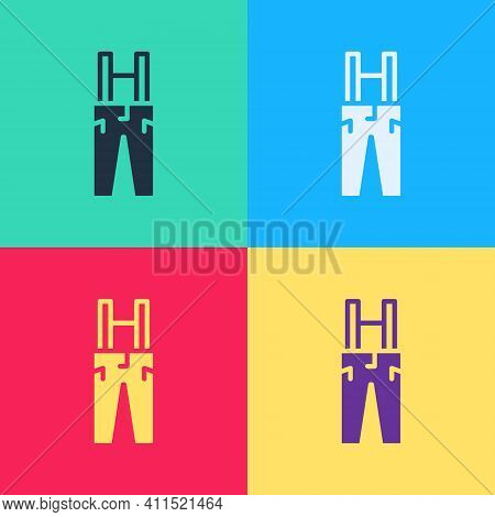 Pop Art Pants With Suspenders Icon Isolated On Color Background. Vector