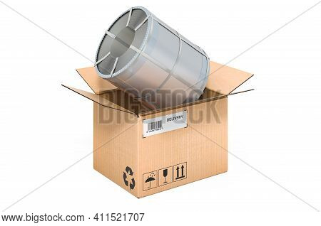Roll Of Steel Sheet, Stainless Steel Coil Inside Cardboard Box, Delivery Concept. 3d Rendering Isola