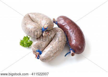 Fresh Bavarian Blood And Liver Sausages, Such As Those Used For Hearty German Meat Platters, On Whit