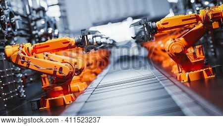 Robotic arms along assembly line in modern factory. Heavy industry, technology and machine learning. 3D rendering