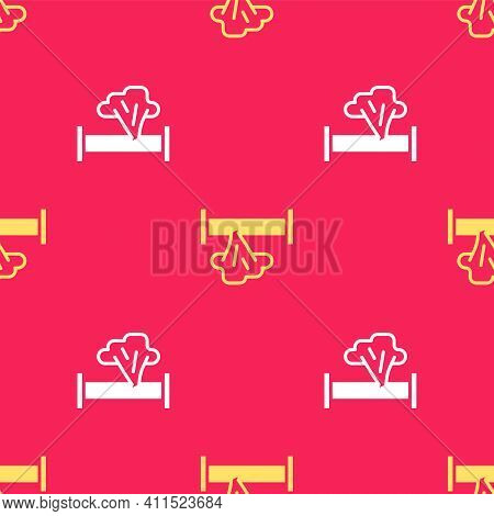 Yellow Broken Metal Pipe With Leaking Water Icon Isolated Seamless Pattern On Red Background. Vector