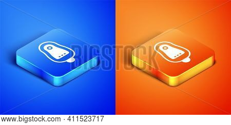 Isometric Toilet Urinal Or Pissoir Icon Isolated On Blue And Orange Background. Urinal In Male Toile