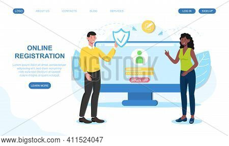 Male And Female Characters Are Registrating Their Profile Online. Concept Of Secure Registration Or