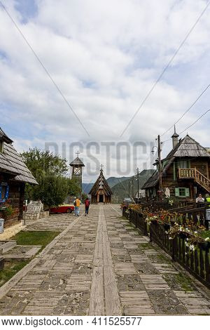 Drvengrad, Serbia- 18 September 2020: Wooden Church At Kustendorf, Traditional Village Drvengrad Bui