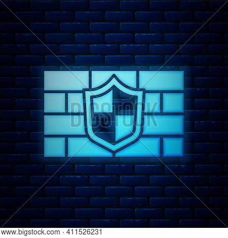 Glowing Neon Shield With Cyber Security Brick Wall Icon Isolated On Brick Wall Background. Data Prot