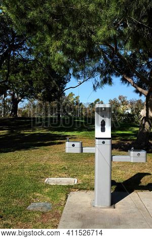 IRVINE, CALIFORNIA - 07 FEB 2020: A waterbottle Refilling Station and drinking fountain at Harvard Community Athletic Park. The city is replacing old fountains to encourage reusable containers.