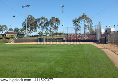 IRVINE, CA - FEBRUARY 12, 2015: Deanna Manning Stadium seen from the left field line. The stadium hosts local slow pitch and fast pitch softball teams as well as international tournaments.